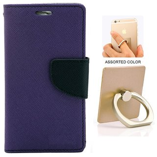 MERCURY Wallet Flip case Cover for OnePlus Two (PURPLE) WITH MOBILE RING STAND