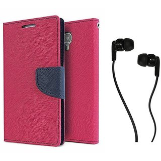 MERCURY Wallet Flip case Cover for HTC Desire 826 (PINK) With Champ Earphone 3.5mm jack