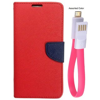 MERCURY Wallet Flip case Cover for Apple iPhone 7 (RED) With power bank usb cable