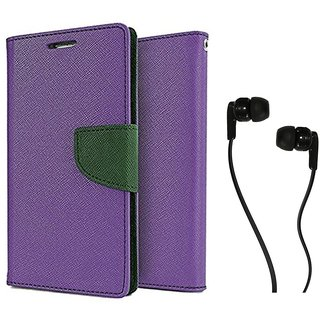 MERCURY Wallet Flip case Cover for Moto G 2 (PURPLE) With Champ Earphone 3.5mm jack