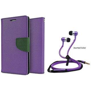 MERCURY Wallet Flip case Cover for HTC Desire 626 (PURPLE) With Zipper Earphone