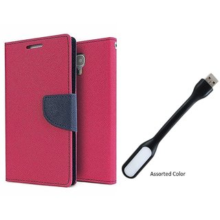 MERCURY Wallet Flip case Cover for  Sony Xperia Z3 (PINK) With Smiley data Cable