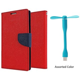 MERCURY Wallet Flip case Cover for Reliance Lyf Flame 3 (RED) With Usb Fan