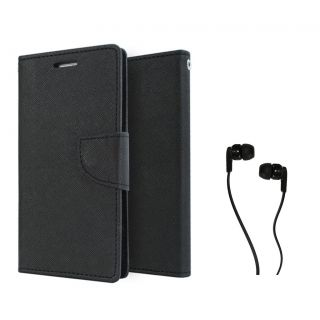 MERCURY Wallet Flip case Cover for LG G4 (BLACK) With Champ Earphone 3.5mm jack