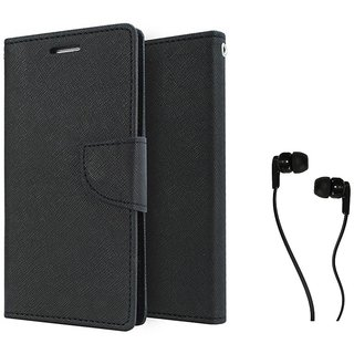 MERCURY Wallet Flip case Cover for  Micromax Canvas Selfie 3 Q348 (BLACK) With Champ Earphone 3.5mm jack