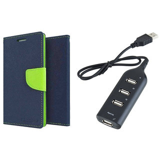 MERCURY Wallet Flip case Cover for Micromax Canvas Play Q355 (BLUE) With Usb hub