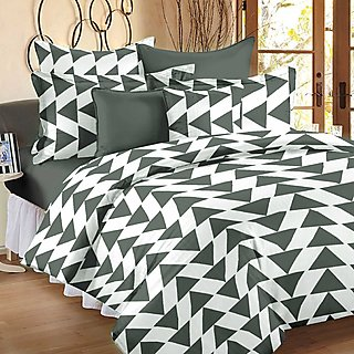 Story@Home 120 TC 100 Cotton Grey 1 Double Bedsheet With 2 Pillow Cover