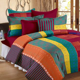 Story@Home 186 TC 100 Cotton Multicolor 1 Double Bedsheet With 2 Pillow Cover