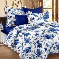 Story@Home 152 TC 100 Cotton White  Blue 1 Double Bedsheet With 2 Pillow Cover