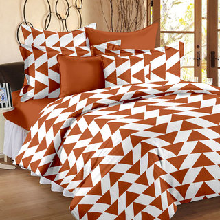 Story@Home 120 TC 100 Cotton Brown 1 Single Bedsheet with 1 Pillow Cover