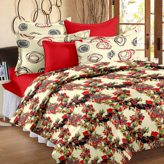 Story@Home 250 TC 100 Cotton Red 1 Double Bedsheet With 2 Pillow Covers