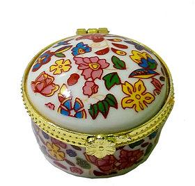 Stunning Porcelain Handmade Round Shape Multicolor Kumkum/Sindoor Box
