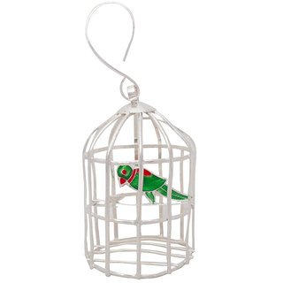Gomati Ethnic Decorative Silver Polished Green Parrot n Cage