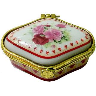 Beautiful Porcelain Handmade Square Shape Multicolor Kumkum/Sindoor Box