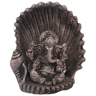 Gomati Ethnic White Metal Antique Lord Ganesha on Naag Idol