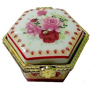 Attractive Porcelain Handmade Hexagon Shape Multicolor Kumkum/Sindoor Box