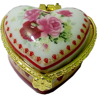 Appealing Porcelain Handmade Heart Shape Multicolor Kumkum/Sindoor Box