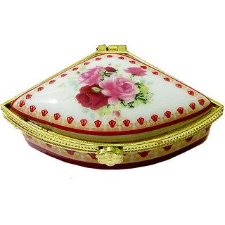 Pretty Porcelain Handmade Triangular Shape Multicolor Kumkum/Sindoor Box