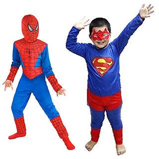 Combo offer of Spiderman + Superman Costume for Kids  B'Day Gift for Boys