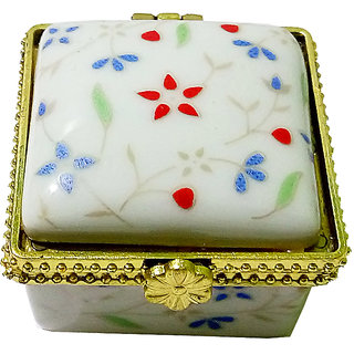 Dazzling Porcelain Handmade Square Shape Multicolor Kumkum/Sindoor Box