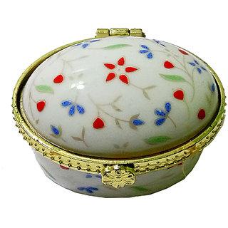 Excellent Porcelain Handmade Oval Shape Multicolor Kumkum/Sindoor Box