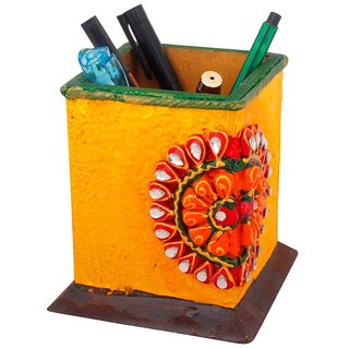 Gomati Ethnic Decorative Kundan Meenakari Wooden Pen Stand