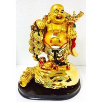 20CM BIG PREMIUM QUALITY LAUGHING BUDDHA WITH COINS AND INGOT, SYMBOL OF HAPPINESS, POSITIVE ENERGY