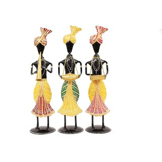 Creative Crafts Metal Statue Tribal Musicians Figurine Set of 3 Pcs Home Decorative Handicrafts Corporate/Diwali Gift  Showpiece
