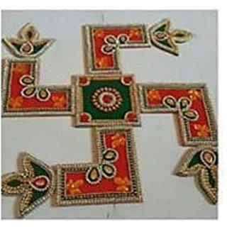 Handicraft Designer Rangoli  Stone Decorations and Red, Green, White, Golden