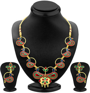 ShoStopper Delightful Peacock Gold Plated Meenakari Necklace Set