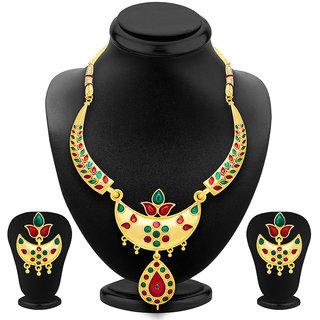 shostopper-glimmer-gold-plated-meenakari-necklace-set