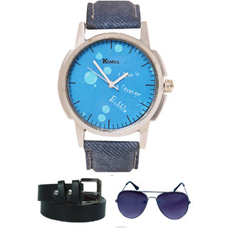 KVELL Men's Watch with Assorted es   Belt  Combos-UMW-1149