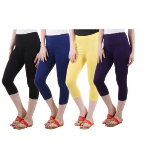 Diaz Black Blue Yellow Purple Cotton Lycra Capris