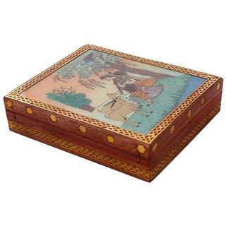 Gomati Ethnic Meera Gemstone Painting Wooden Jewelry Box-248