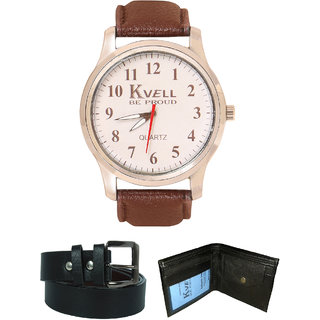 KVELL Men's Watch with Wallet  Black Belt  Combos-UMW-1229