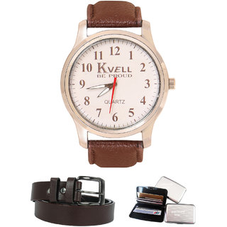 KVELL Men's Watch with Card Holder  Brown Belt  Combos-UMW-1232