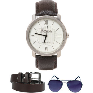 KVELL Men's Watch with Assorted es  Brown Belt  Combos-UMW-1254