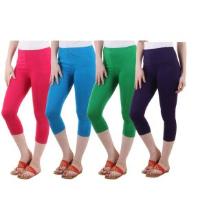 Diaz Pink Turquoise Green Purple Cotton Lycra Capris