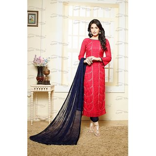 Fabliva Red Embroidered Chiffon Straght Suit