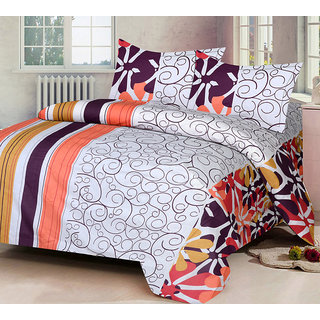 VCS Cotton White  Orange Printed Double Bedsheet With 2 Pillow Cover - Standard Size
