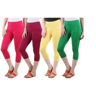 Diaz Pink Maroon Yellow Green Cotton Lycra Capris