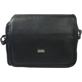 BagsHub Black Front Flap Men's Sling Bag (B0653-0000900010-V0013)