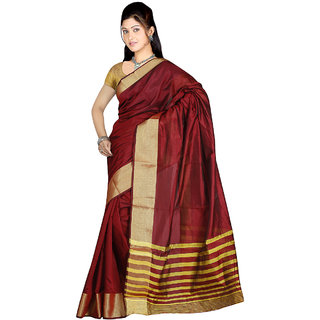 Indian Fashionista Red Banarasi Silk Plain Saree With Blouse