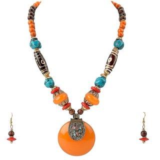 Necklace Earring Set Tibetan Handmade Orange Stone Dzi Beads