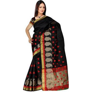 Indian Fashionista Black Banarasi Silk Plain Saree With Blouse