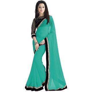 Indian Fashionista Green Chiffon Printed Saree With Blouse