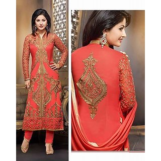 Prints Pink  red Unstitched Cotton Suit