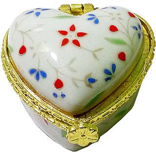 Tremendous Porcelain Handmade Heart Shape Multicolor Kumkum/Sindoor Box