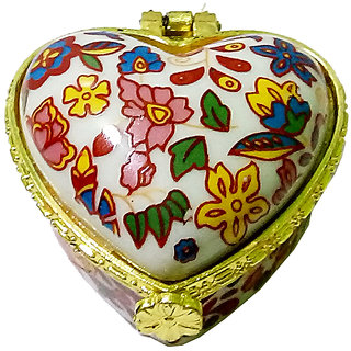 Traditional Porcelain Handmade Heart Shape Multicolor Kumkum/Sindoor Box