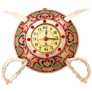 Gomati Ethnic Rajasthani Real Brass Sword Armour Wall Clock
